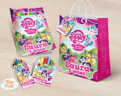 Kit colorir giz massinha e sacola My Little Pony