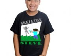 Camiseta Minecraft Steve VS Skeleton Estampada Algodão