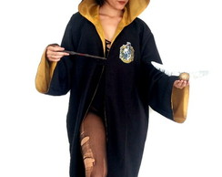 Fantasia Capa Longa Harry Potter Lufa-Lufa Unissex Adulto