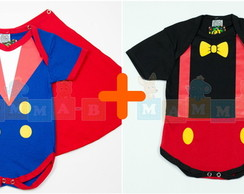 Kit Bodys Mickey + Pequeno Principe
