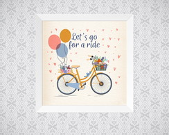 Quadro - Let`s go for a ride - Bicicleta - 20x20cm