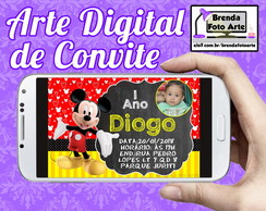 Arte Digital Convite Mickey Mouse
