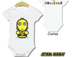 BODY INFANTIL STAR WARS - BABY ESTAMPA FRENTE E COSTA