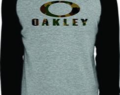 31f302b65f4c2 ... Camiseta Raglan Manga Longa Oakley Camuflado cinza mescla