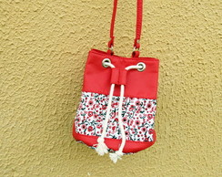 Mini Bolsa Bucket Bag Vermelha com Floral Exclusiva