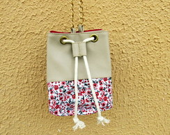 Mini Bolsa Bucket Bag Creme com Floral Exclusiva