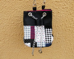 Mini Bolsa Bucket Bag Preta e Pink Exclusiva