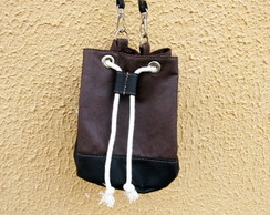 Mini Bolsa Bucket Bag Marrom e Preto Exclusiva