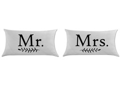 Kit 2 capas de almofadas Mr and Mrs