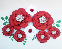 Flor de papel Bianca kit 8 Unidades decorativas