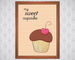 Quadro Cupcake Chocolate Cereja - 21x30cm