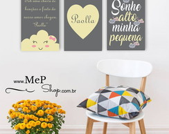 Placa Quadro Decorativa - Kit com 3 Placas Infantil