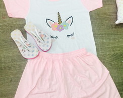 Kit pijama e chinelo unicornio