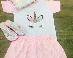 kit festa do pijama unicornio com mochila e chinelo