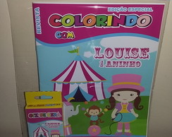 Kit Colorir Revistinha + giz Circo cute
