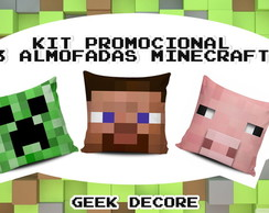 KIT 3 LINDAS ALMOFADAS MINECRAFT