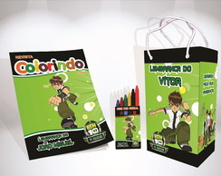 Kit de colorir do Ben 10 Sacola Giz Revista brinde