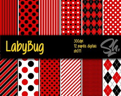 Kit Scrapbook Papel Digital SH011 - LadyBug Joaninha