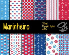 Kit Scrapbook Papel Digital SH026 - Marinheiro