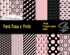 Kit Scrapbook Papel Digital SH068 - Paris Rosa e Preto