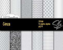 Kit Scrapbook Papel Digital SH079 - Cinza