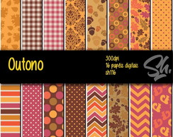 Kit Scrapbook Papel Digital SH116 - Outono