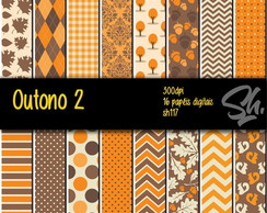 Kit Scrapbook Papel Digital SH117 - Outono