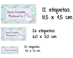 Etiqueta escolar unicórnio maternal kit