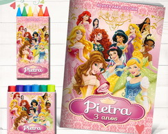Kit Revista + Giz + Massinha Princesas 21X15cms