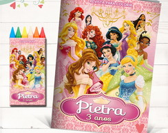 Kit Revista Colorir + Giz Princesas 21X15cms