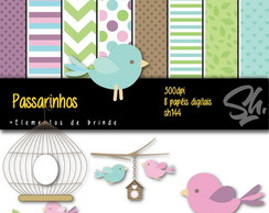Kit Scrapbook Papel Digital SH144 Passarinhos