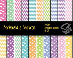 Kit Scrapbook Papel Digital SH157 Borboleta e Chevron