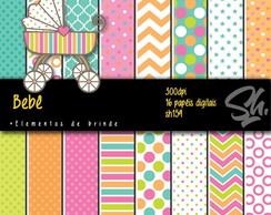 Kit Scrapbook Papel Digital SH159 Bebê