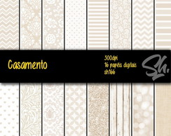 Kit Scrapbook Papel Digital SH166 Casamento