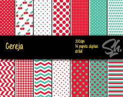 Kit Scrapbook Papel Digital SH168 Cereja