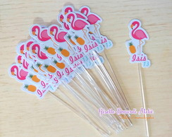 Topper Personalizado Flamingo Festa Tropical