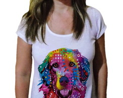 Camiseta Feminina Golden Retriever color