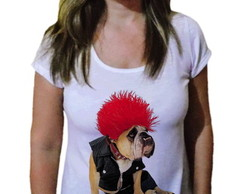 Camiseta Feminina Buldogue punk rock
