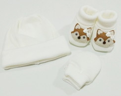 Kit de touca,luva e pantufa