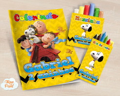 Kit colorir giz massinha Snoopy