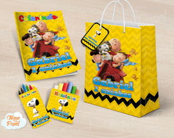 Kit colorir giz massinha e sacola Snoopy