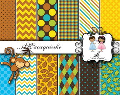 Kit Scrapbook Papel Digital SH212 - Macaquinho
