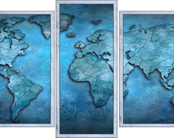 KIT QUADRO DECORATIVO MAPA-MUNDI -TAM: 140X63CM