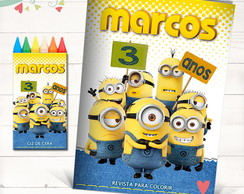 Kit Revista para colorir + Giz Minions 21X15cms