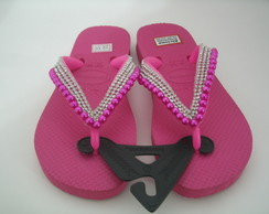 Chinelo havaianas top infantil decorado rosa