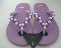 Chinelo havaianas top decorado lilas