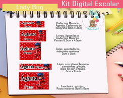 Kit Etiqueta Escolar DIGITAL Ladybug