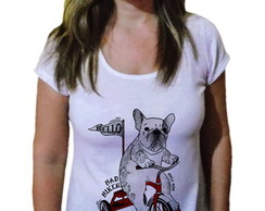 Camiseta Feminina Dog buldogue francês bike
