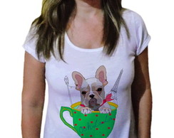 Camiseta Feminina Dog buldogue francês Paris