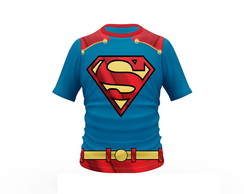 Camiseta Superman Estampa Total Adulto e Infantil